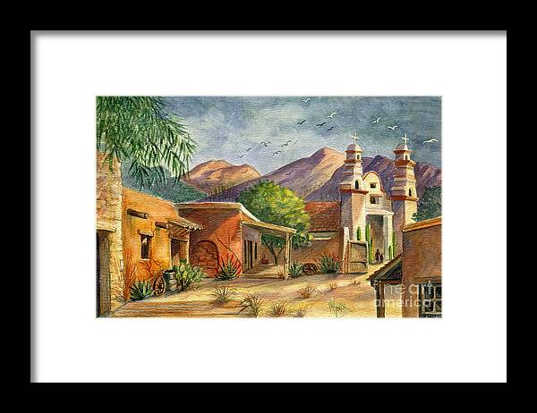 Old Tucson Framed Print featuring the painting Old Tucson by Marilyn Smith