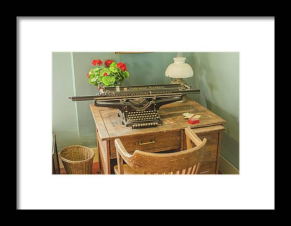 Old Building Framed Print featuring the photograph Old Underwood Typewriter by Allen Sheffield