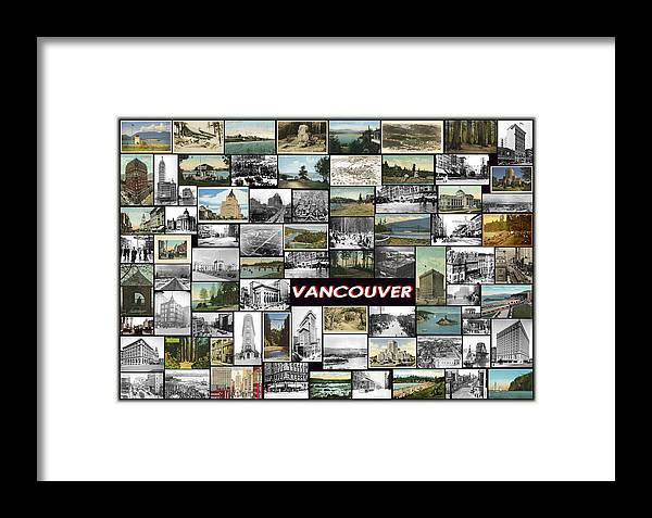Vancouver Framed Print featuring the pyrography Old Vancouver Collage by Janos Kovac
