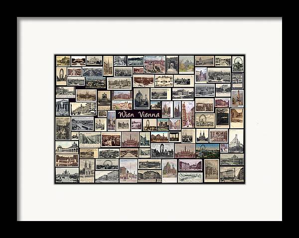 Wien Framed Print featuring the pyrography Old Vienna Collage by Janos Kovac