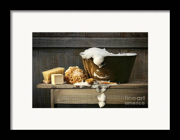 Antique Framed Print featuring the digital art Old Wash Tub With Soap On Bench by Sandra Cunningham