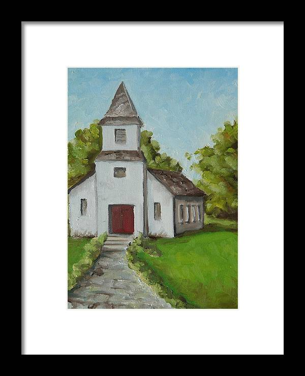 Church Framed Print featuring the painting Old White Church In The Texas Hill Country by Amy Higgins