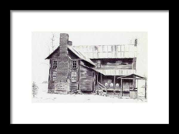 Landscape Framed Print featuring the drawing Old Willard Home by Penny Everhart