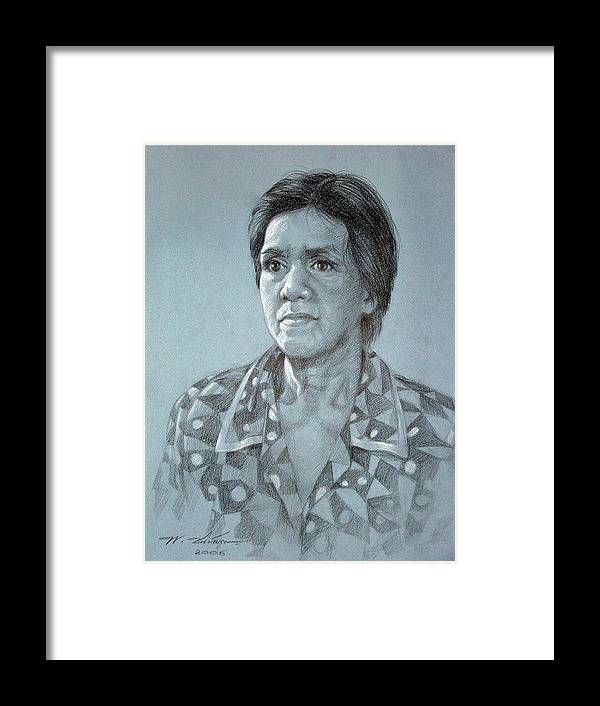 Old Woman Framed Print featuring the painting Old Woman by Chonkhet Phanwichien