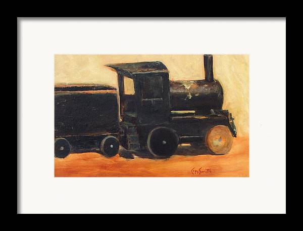 Trains Framed Print featuring the painting Old Wood Toy Train by Chris Neil Smith