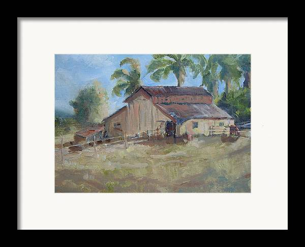Old Barns; Horse Stables Landscape In Plein-air Framed Print featuring the painting Old Yeller by Bryan Alexander