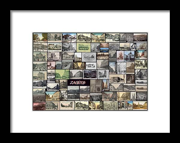 Old Zagreb Framed Print featuring the pyrography Old Zagreb Collage by Janos Kovac