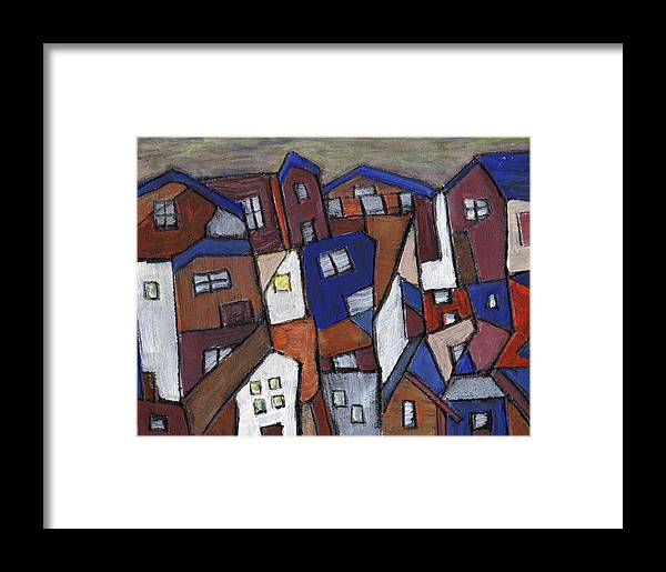 Urban Framed Print featuring the painting Olde Towne by Wayne Potrafka