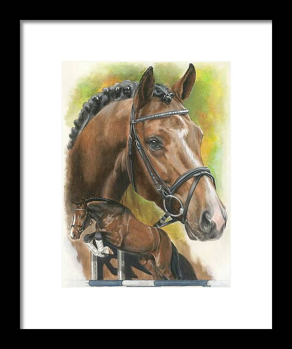 Hunter Jumper Framed Print featuring the mixed media Oldenberg by Barbara Keith