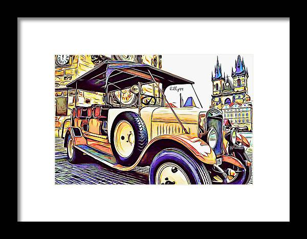 Draw Framed Print featuring the drawing Oldtimer 2 by Nenad Vasic