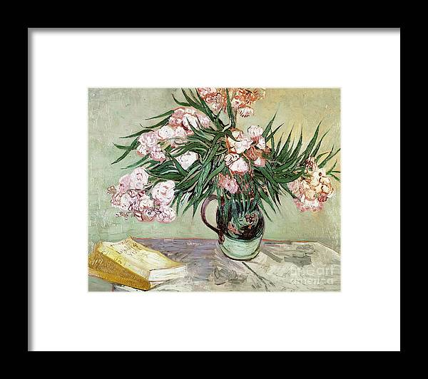 Vincent Van Gogh Framed Print featuring the painting Oleanders And Books by Vincent van Gogh