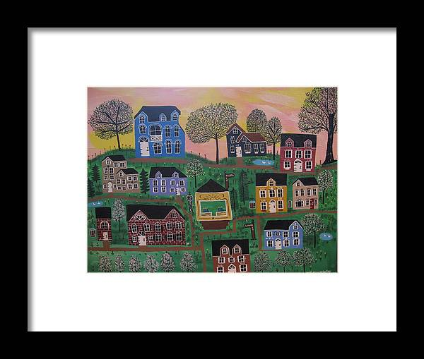 Landscape Framed Print featuring the painting Olenalanthe Park- The Dream of Days to Come by Mike Filippello
