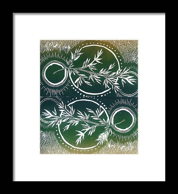 Olive Branch Framed Print featuring the relief Olive Branch by Jennifer Graham
