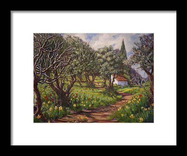 Greece Framed Print featuring the painting Olive Grove In Spring-time by Yvonne Ayoub