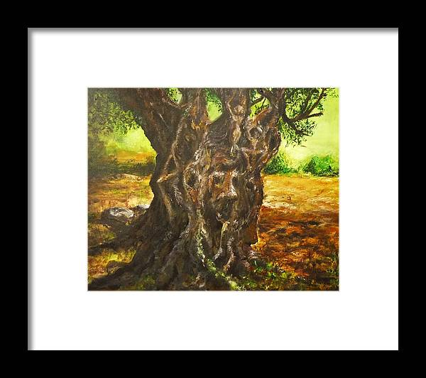 Tree Framed Print featuring the painting Olive Tree Rooted 1 by Lizzy Forrester