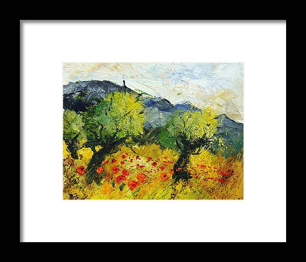 Flowers Framed Print featuring the painting Olive Trees And Poppies by Pol Ledent