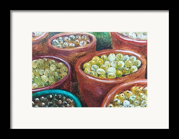 Olives Framed Print featuring the painting Olives By The Crock by Jun Jamosmos