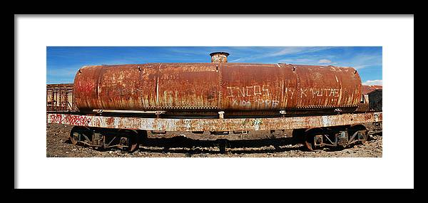 Rusty Framed Print featuring the photograph Ols Rusty Container Train Wagon by Juan Gnecco