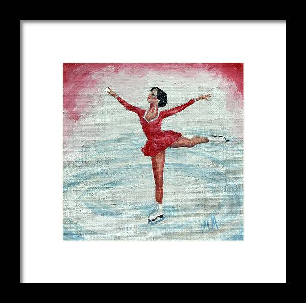 Red Framed Print featuring the painting Olympic Figure Skater by ML McCormick