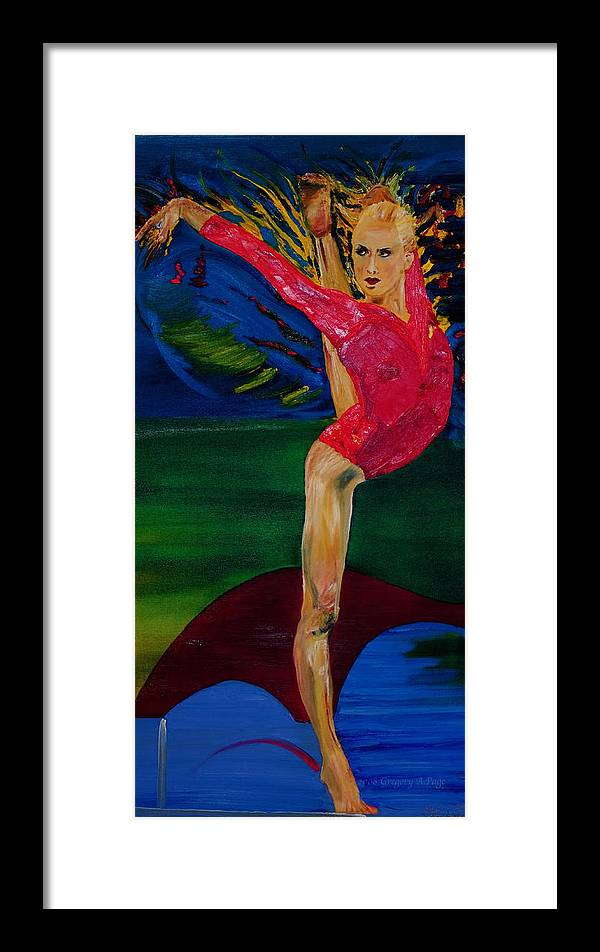 Olympic Gymnast Photo Framed Print featuring the painting Olympic Gymnast Nastia Liukin by Gregory Allen Page