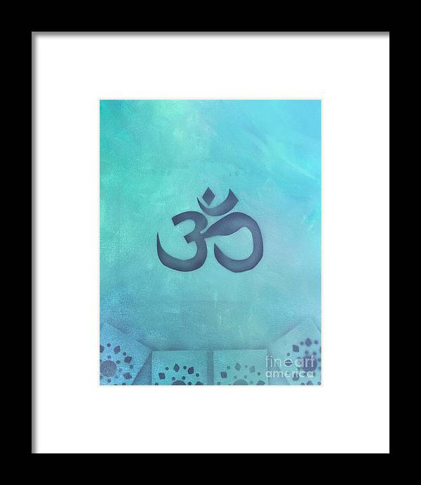 Buddhism Framed Print featuring the painting OM by Buffy Heslin