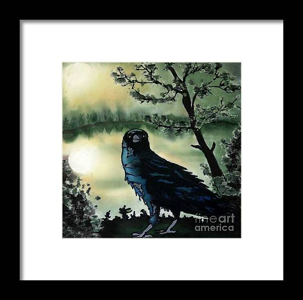 Raven Framed Print featuring the painting Omen Of Change by Linda Marcille