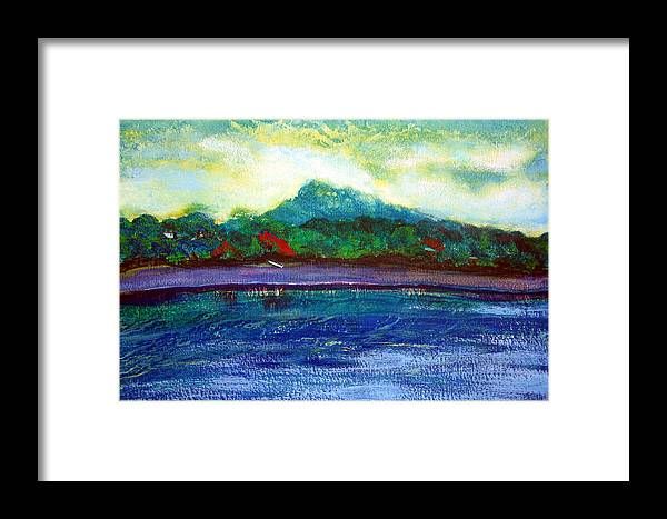 Volcano Framed Print featuring the painting Ometepe Island 1 by Sarah Hornsby