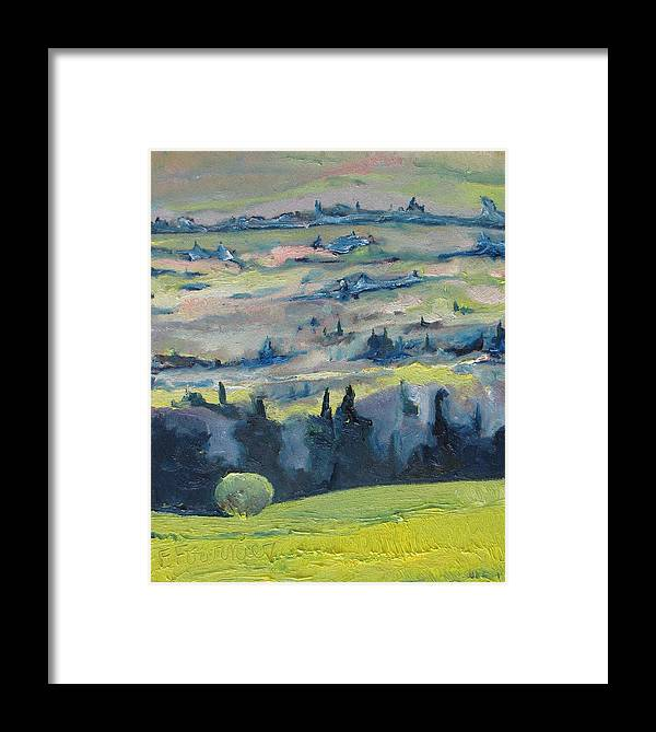Landscape Framed Print featuring the painting On A Field Of Dandelions by Francois Fournier