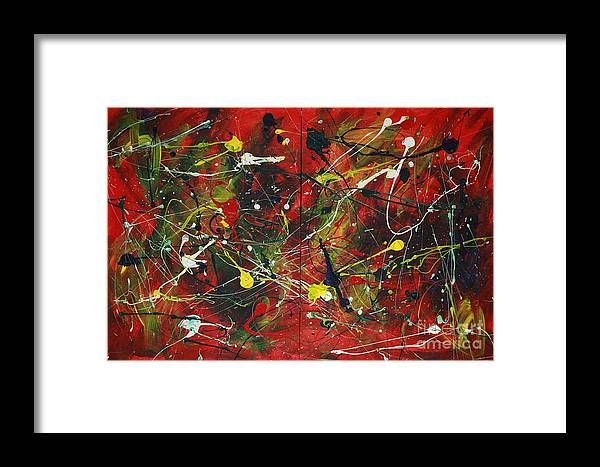 Splatter Framed Print featuring the painting On A High Note by Jacqueline Athmann