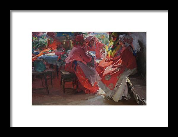 Abram Arkhipov Framed Print featuring the painting On a Visit by Abram Arkhipov