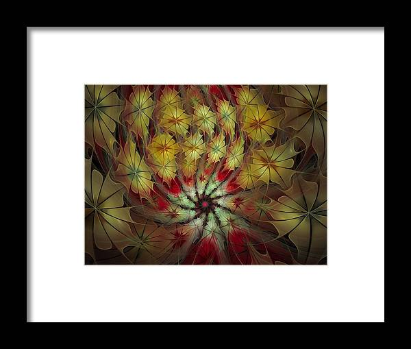 Fractal Framed Print featuring the digital art On A Windy Autumn Day by Amorina Ashton