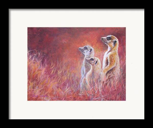 Meerkats Framed Print featuring the painting On Alert by Sue Linton