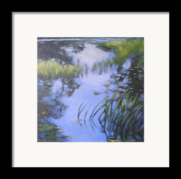 Landscape Framed Print featuring the painting On Calm Reflection by Mary Brooking