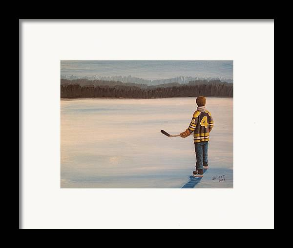 Bobby Orr Framed Print featuring the painting On Frozen Pond - Bobby by Ron Genest