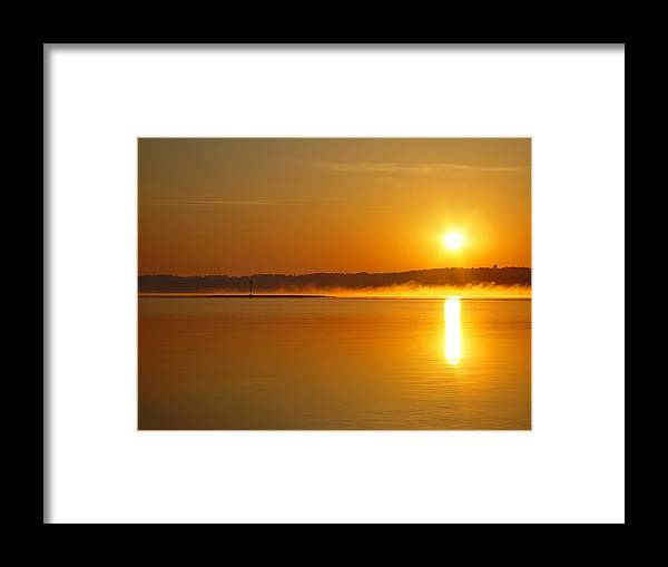 Landscape Framed Print featuring the photograph On Golden Lake by Michael Whitaker