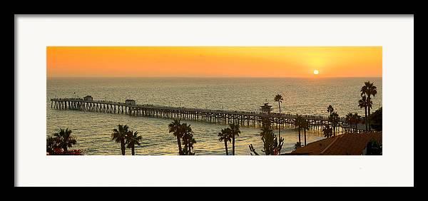 San Clemente Framed Print featuring the photograph On Golden Pier by Gary Zuercher