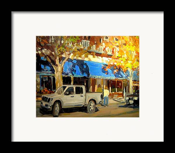 Citscape Paintings Framed Print featuring the painting On Government Street by Brian Simons