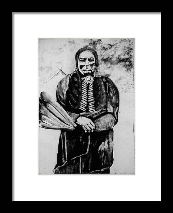 Western Art Framed Print featuring the drawing On Kiowa Reservation by Dan RiiS Grife