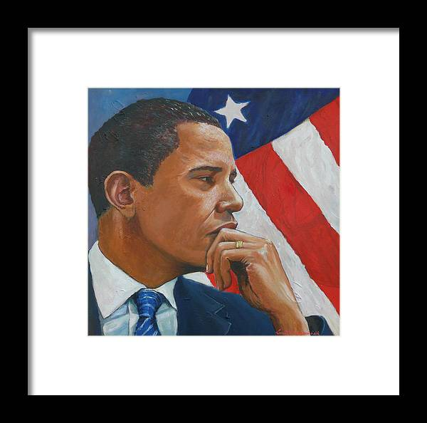 Obama Framed Print featuring the painting On Reflection by Tomas OMaoldomhnaigh