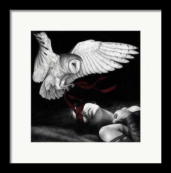 Woman Framed Print featuring the painting On Silent Wings by Pat Erickson