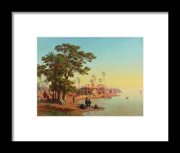 Johann Jakob Frey - Swiss - On The Banks Of The Nile Framed Print featuring the painting On The Banks Of The Nile by Johann Jakob