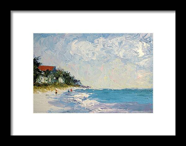 Seascape Framed Print featuring the painting On The Beach by Colleen Murphy