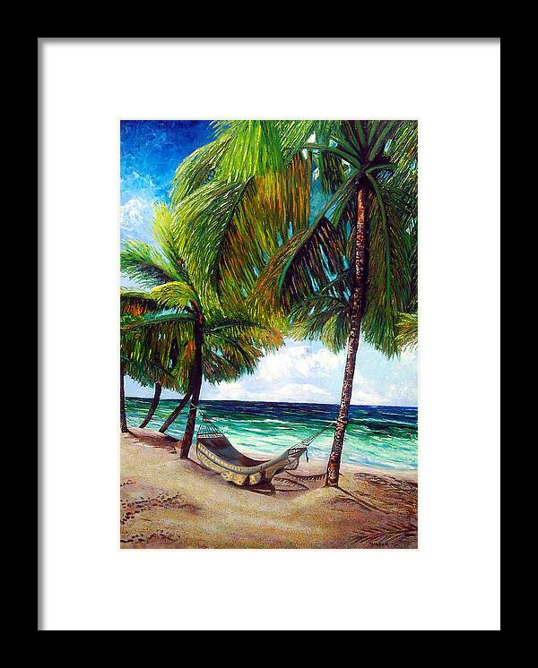 Beach Framed Print featuring the painting On the beach by Jose Manuel Abraham