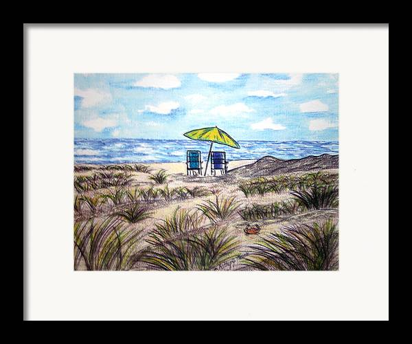 Beach Framed Print featuring the painting On The Beach by Kathy Marrs Chandler