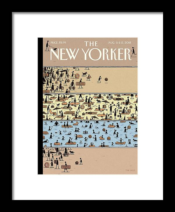 On The Beach Framed Print featuring the drawing On The Beach by Tom Gauld