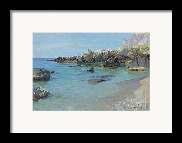 On The Capri Coast (oil On Canvas) By Paul Von Spaun (1876-1932) Framed Print featuring the painting On The Capri Coast by Paul von Spaun