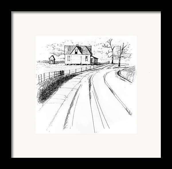 Landscape Framed Print featuring the drawing On The County Line by Peter Muzyka