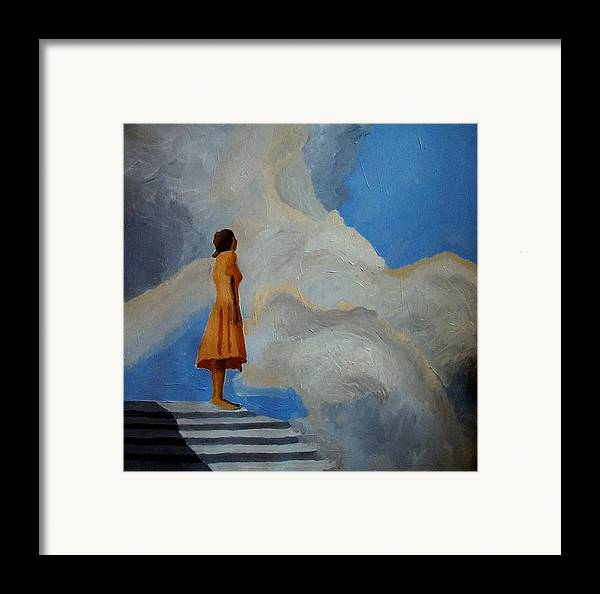 Air Framed Print featuring the painting On The Highest Step by Mats Eriksson