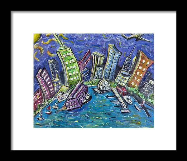 New York City Framed Print featuring the painting On The Hudson by Jason Gluskin