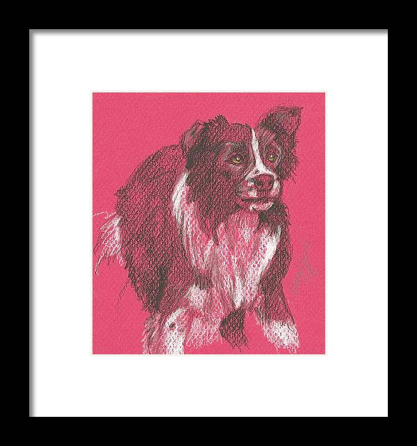 Dog Framed Print featuring the drawing On The Job by Jane Hanson